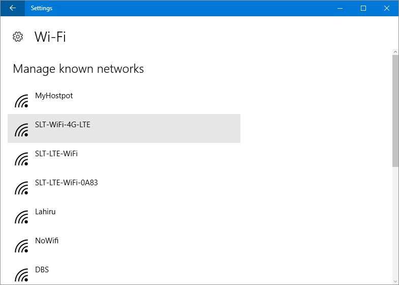 Win 10 wifi list mannage known networks