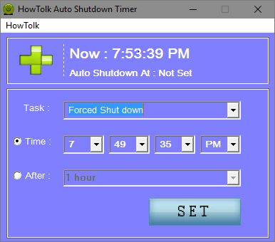 HowTolk Auto Shutdown Timer add task screen